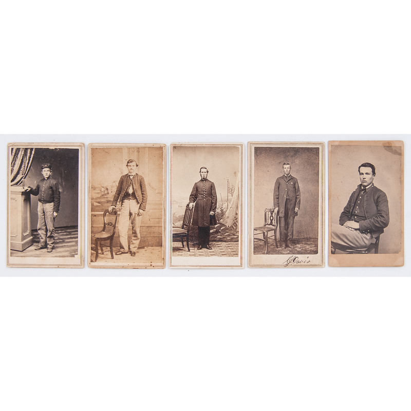 Five CDVs of Unidentified Federal Enlisted Men