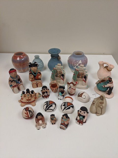 80+ Miniature Pots and Figurines and Two Miniature Textiles