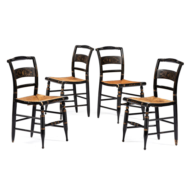 A Set of Four Stencil-Decorated Hitchcock Chairs