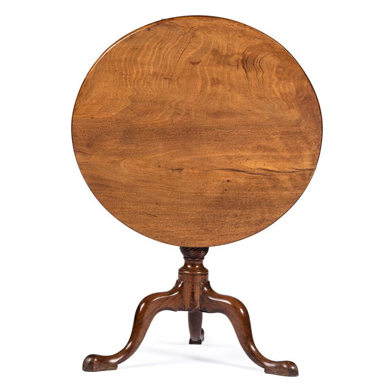 A Pennsylvania Chippendale Walnut Tilt Top Table