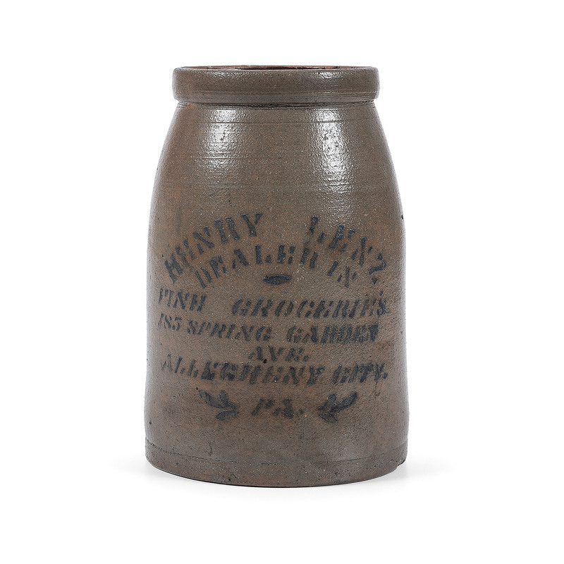 A Scarce Pennsylvania Merchant's Stoneware Canning Jar