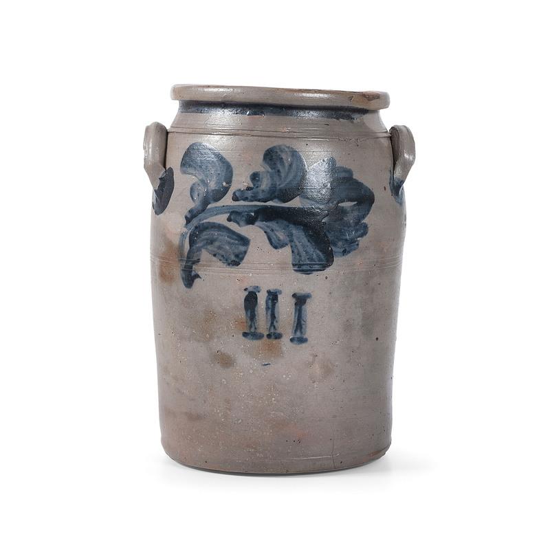 A Scarce Three Gallon Stoneware Jar with Bold Cobalt Flower