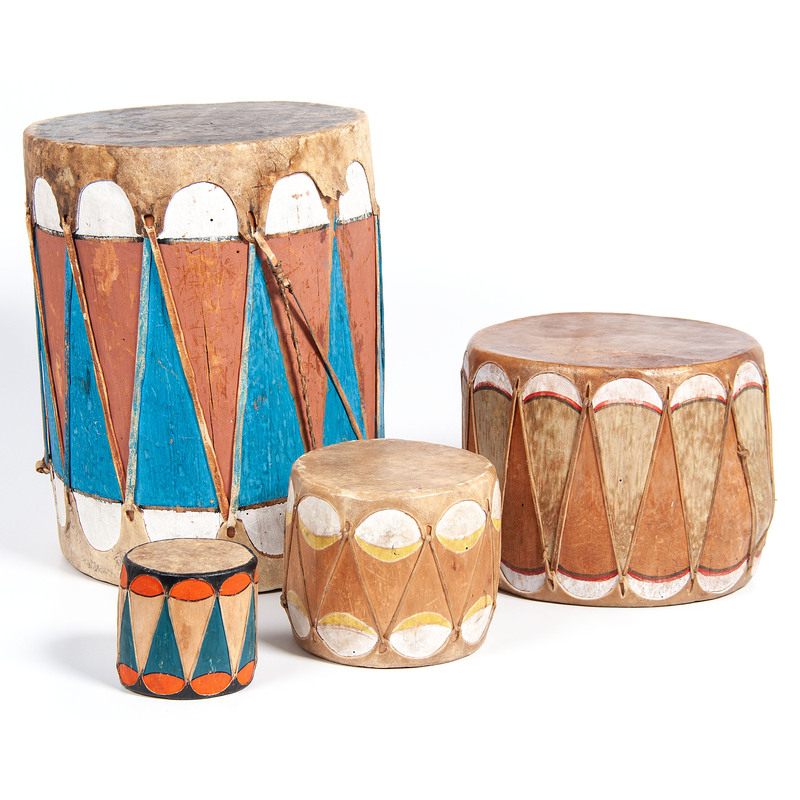 Tower of Cochiti Painted Drums