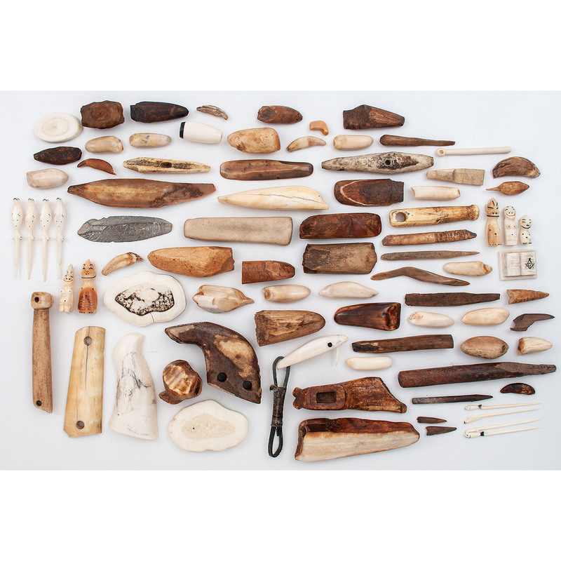 Alaskan Eskimo Walrus Ivory Implements and Carvings