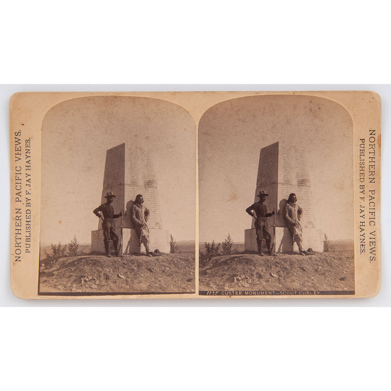 F. Jay Haynes Stereoview of Custer's Scout Curley at Monument