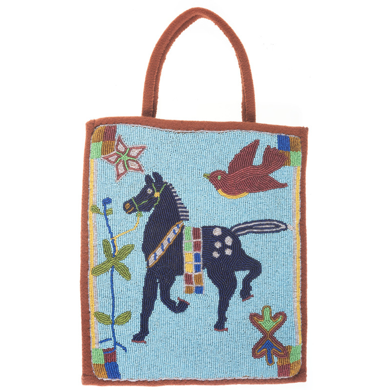 Plateau Beaded Flat Bag, with Pony and Bird