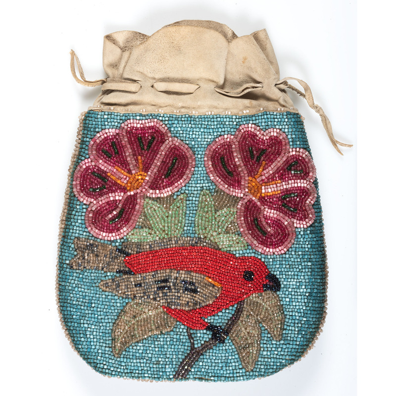 Plateau Beaded Hide Purse, with Red-winged Blackbird