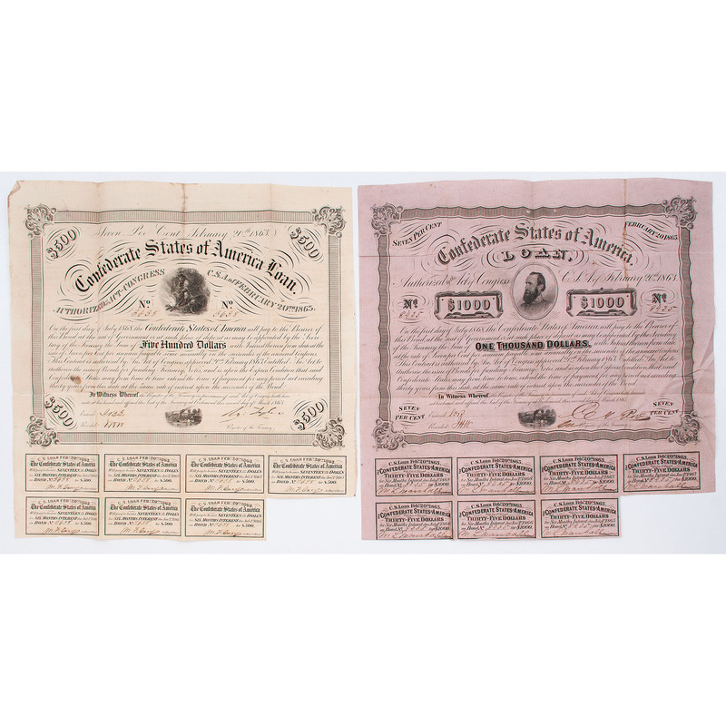 Collection of Confederate Bonds and Notes, Incl. Counterfeit Examples