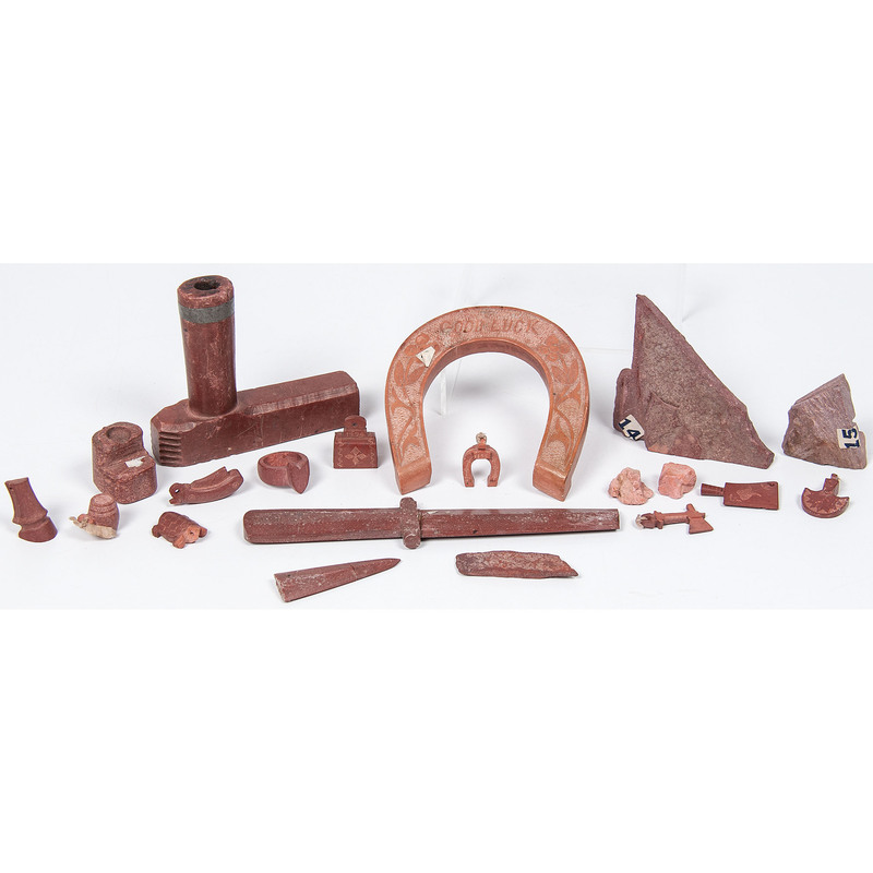 Great Lakes Catlinite Curios, Charms, and Pipe, From an Estate in Sinking Springs, Ohio