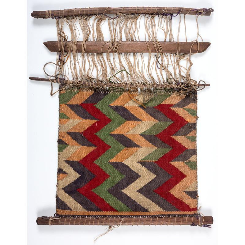 Navajo Germantown Sampler Weaving / Rug on Loom, From an Estate in Sinking Springs, Ohio