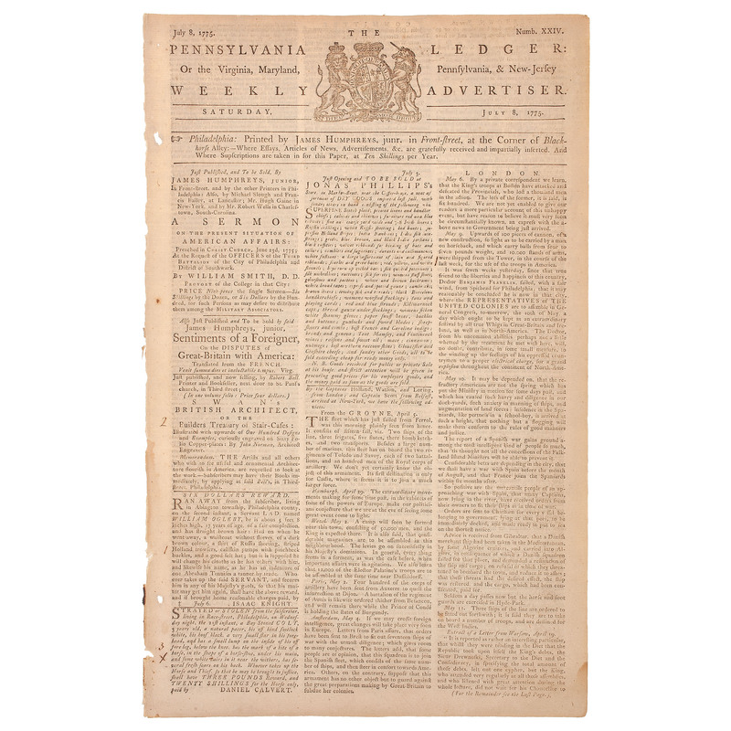 Pennsylvania Ledger Rare Single Issue Dated July 8, 1775, Featuring Coverage of Bunker Hill