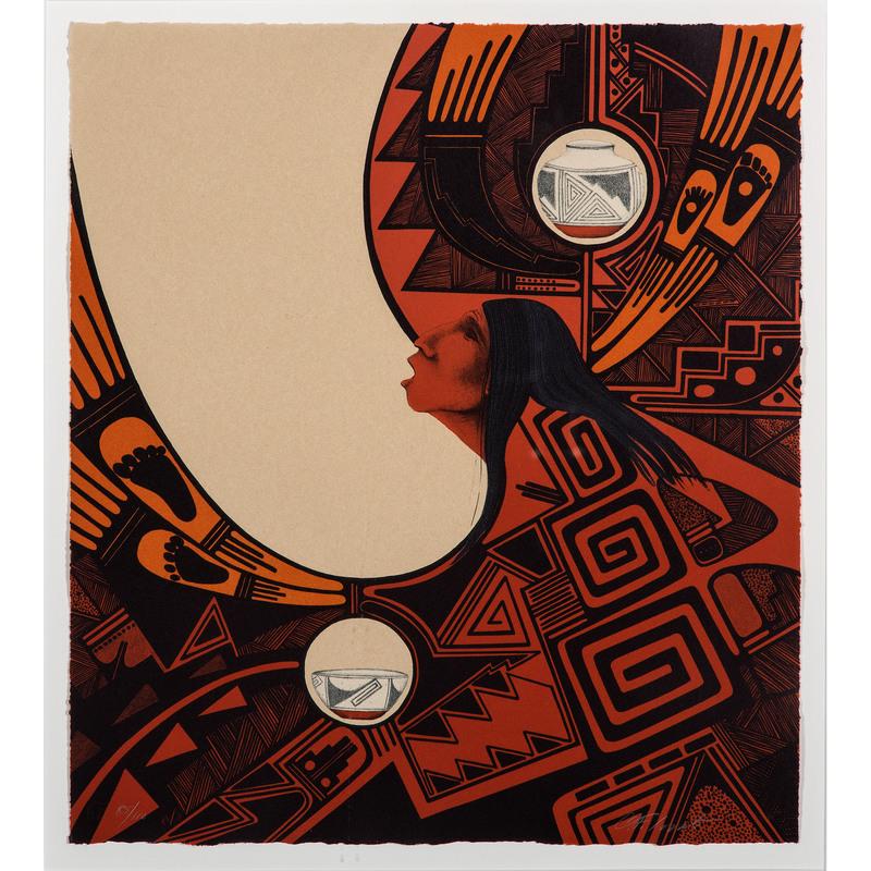 Charles Lovato (Kewa, 1937-1988) Stone Lithograph