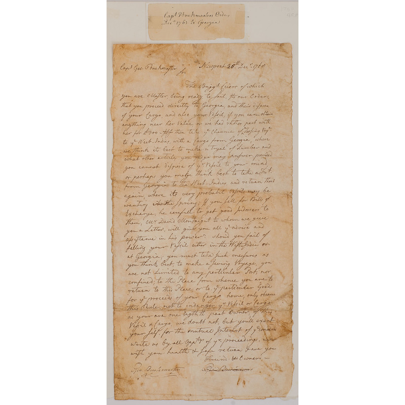 Letter to Captain George Buckmaster, Orders Re: Brig. Cicero, 1768