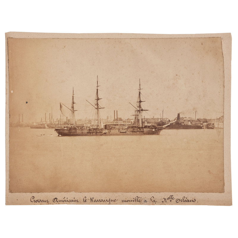 View of Civil War Gunboat Anchored in New Orleans