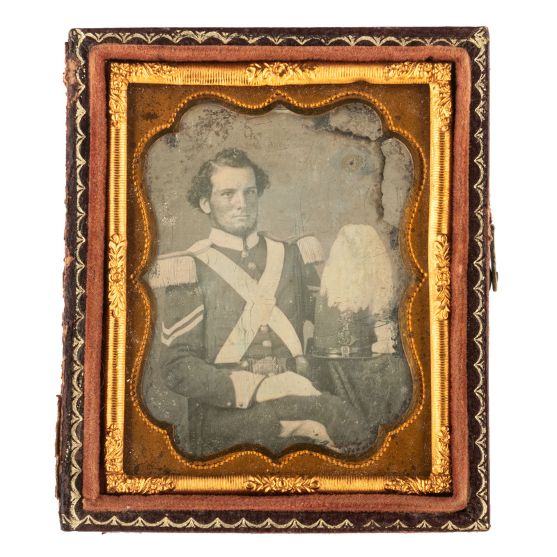 Ninth Plate Daguerreotype of a Militia Corporal with White Plumed Shako