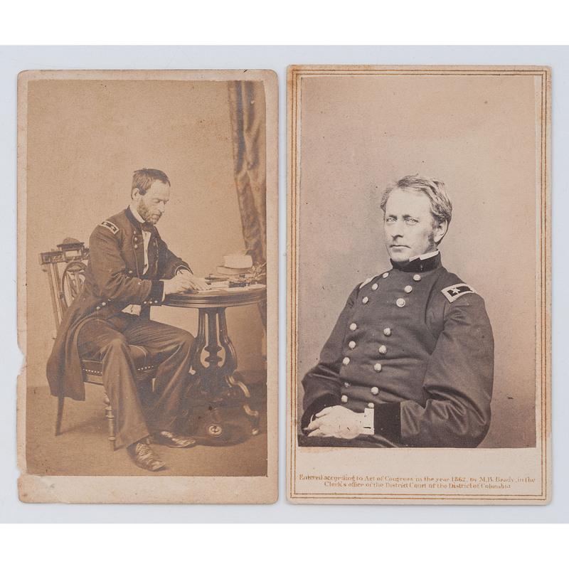 Generals Joseph Hooker and William T. Sherman, Pair of CDVs