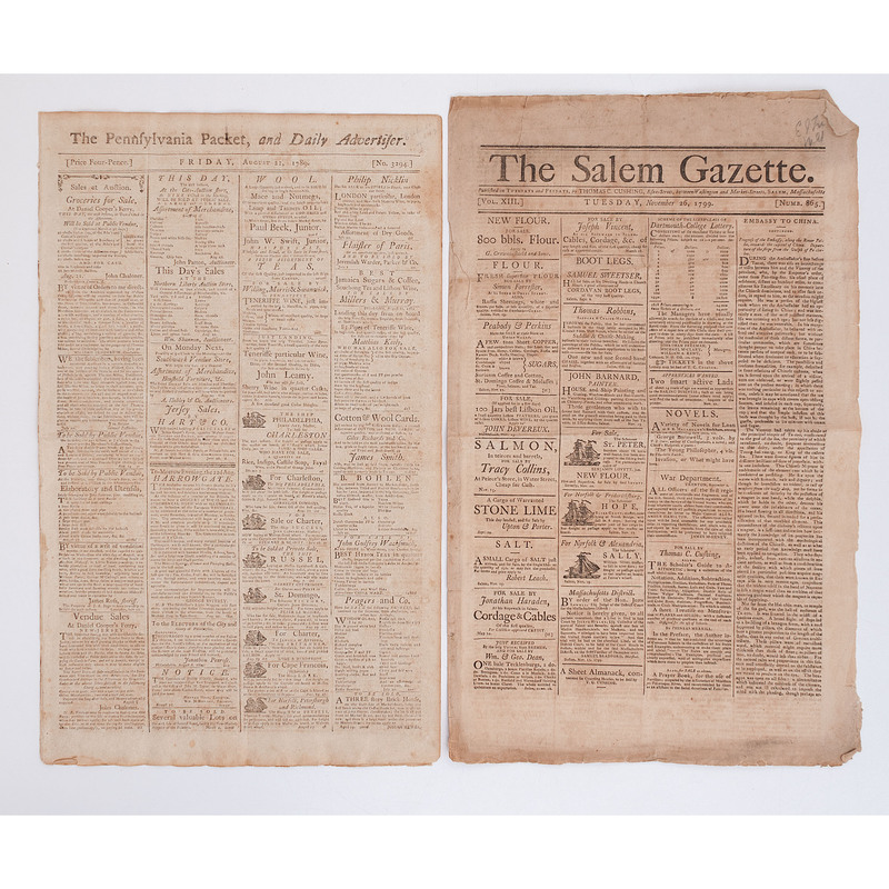 Lot of 6 Original Newspapers Dating from 1789-1799, Including Bill of Rights Debate Reportage