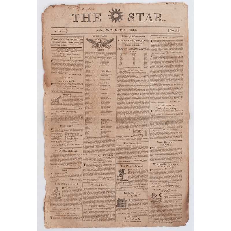 [AFRICAN AMERICANA -- SLAVERY & ABOLITION]. The Star.  Vol. II, Number 22. Raleigh, NC: 31 May 1810.