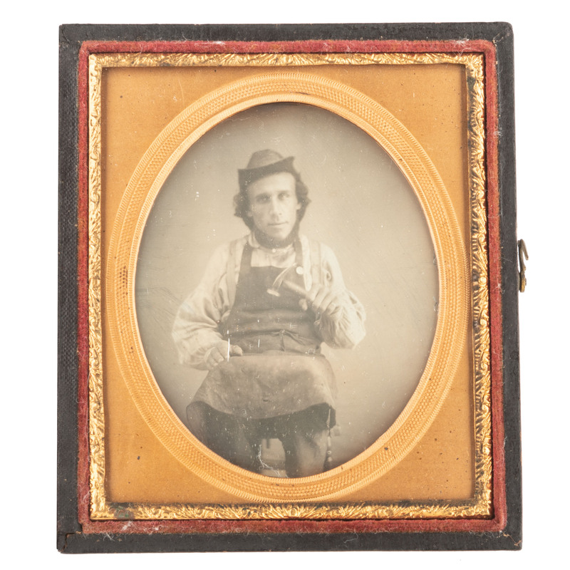 Occupational Sixth Plate Daguerreotype of a Cobbler with Hammer