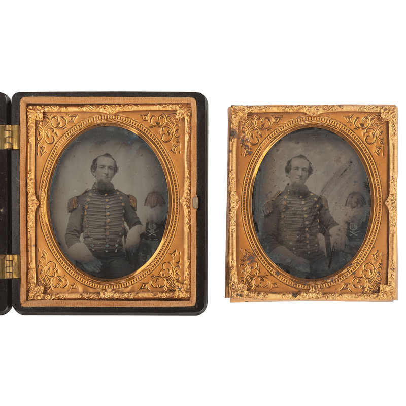 Pair of Identical Sixth Plate Ambrotype Portraits of a Militia Cavalryman Wearing Hussar-Style Uniform