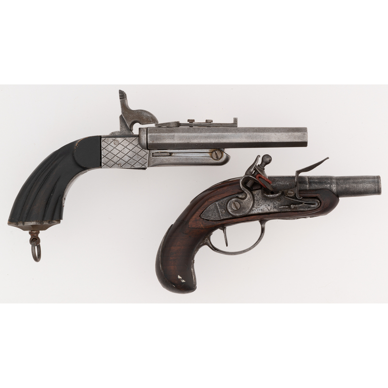 French Flintlock Pistol and French Box Lock Pistol