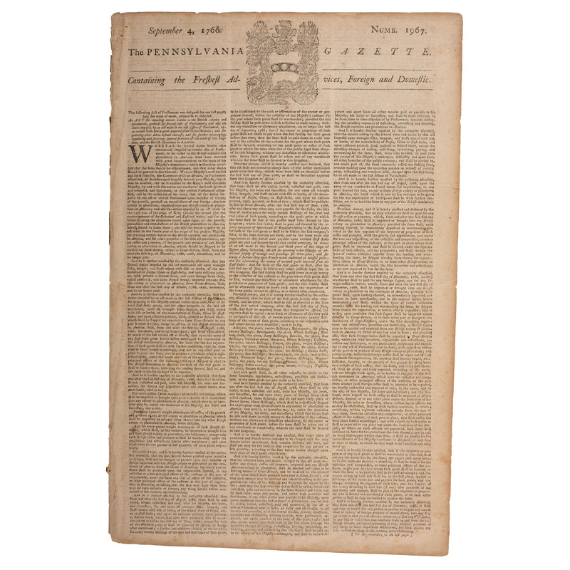 Act Relative to Repeal of the Stamp Act Printed in Pennsylvania Gazette, September 1766