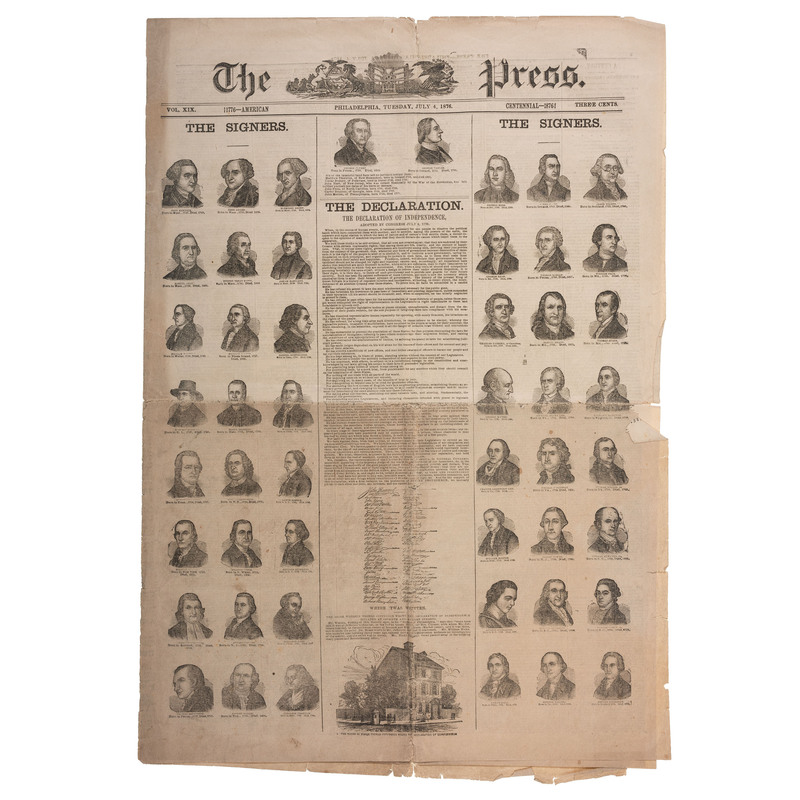 Declaration of Independence, Front Page Printing in Philadelphia Press, July 1876