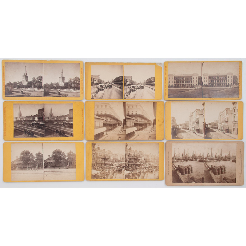 [STEREOVIEWS]. LILIENTHAL, Theodore, photographer. A group of 27 stereoviews of New Orleans. [Ca late 1860s-1870s].