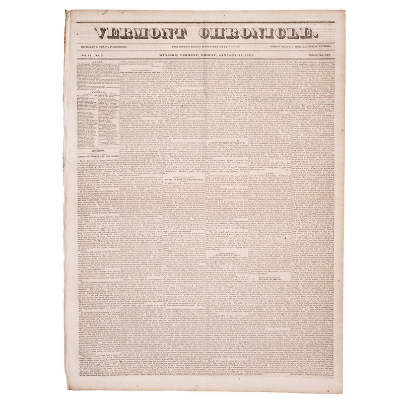 [SLAVERY & ABOLITION]. Descriptive essays on slavery published in 11 issues of The Vermont Chronicle. Windsor, VT: Richards and Tracy, 1833-1844.