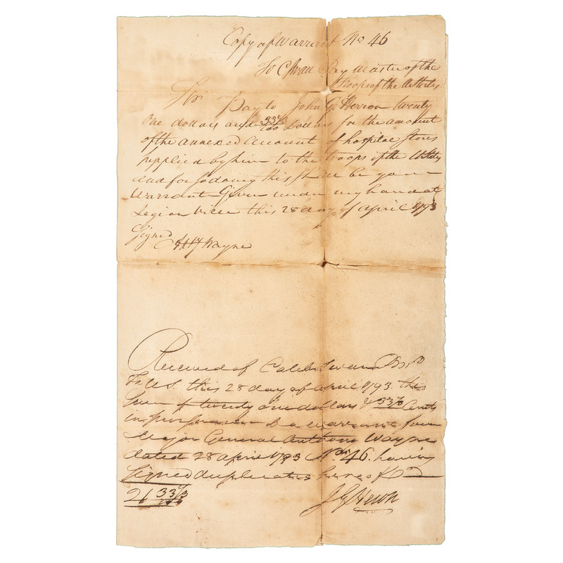 Anthony Wayne Warrant of Payment Signed, 1793