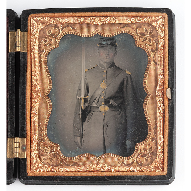 Sixth Plate Ambrotype of Triple-Armed Union Private