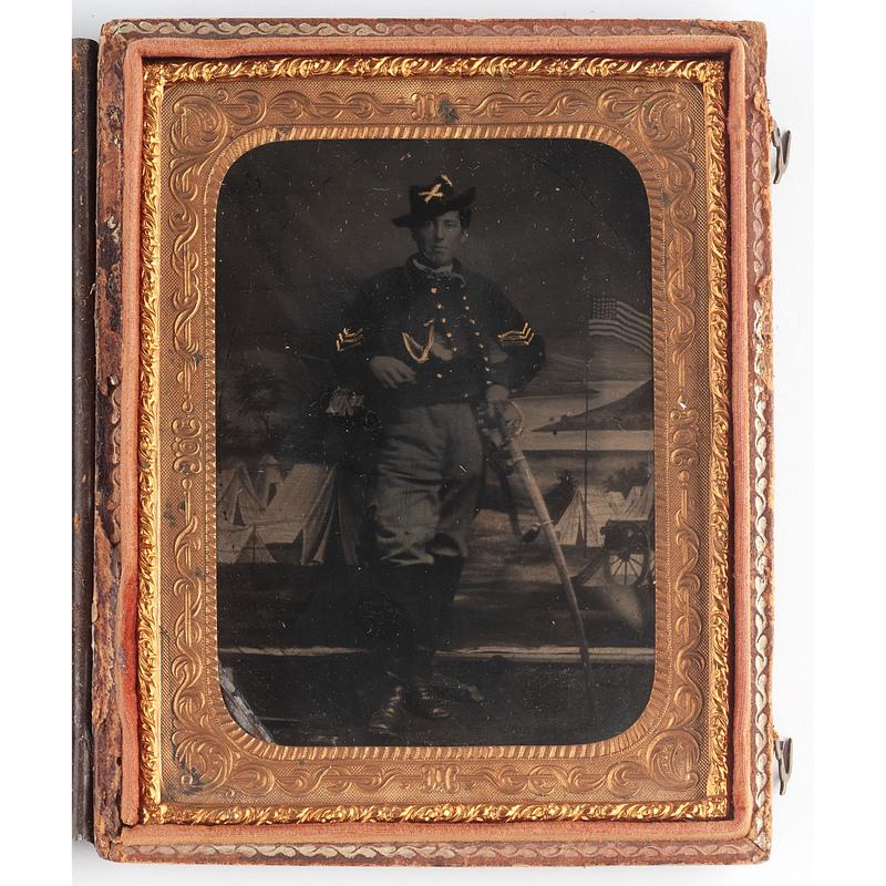 Quarter Plate Tintype of Union Cavalryman
