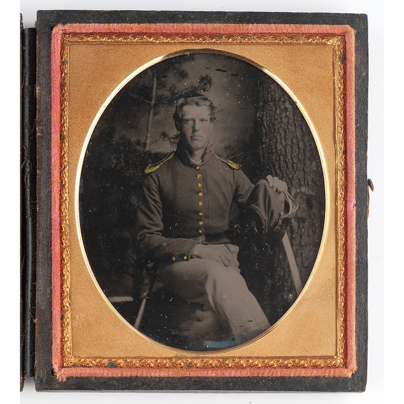 Sixth Plate Ruby Ambrotype of Union Artilleryman