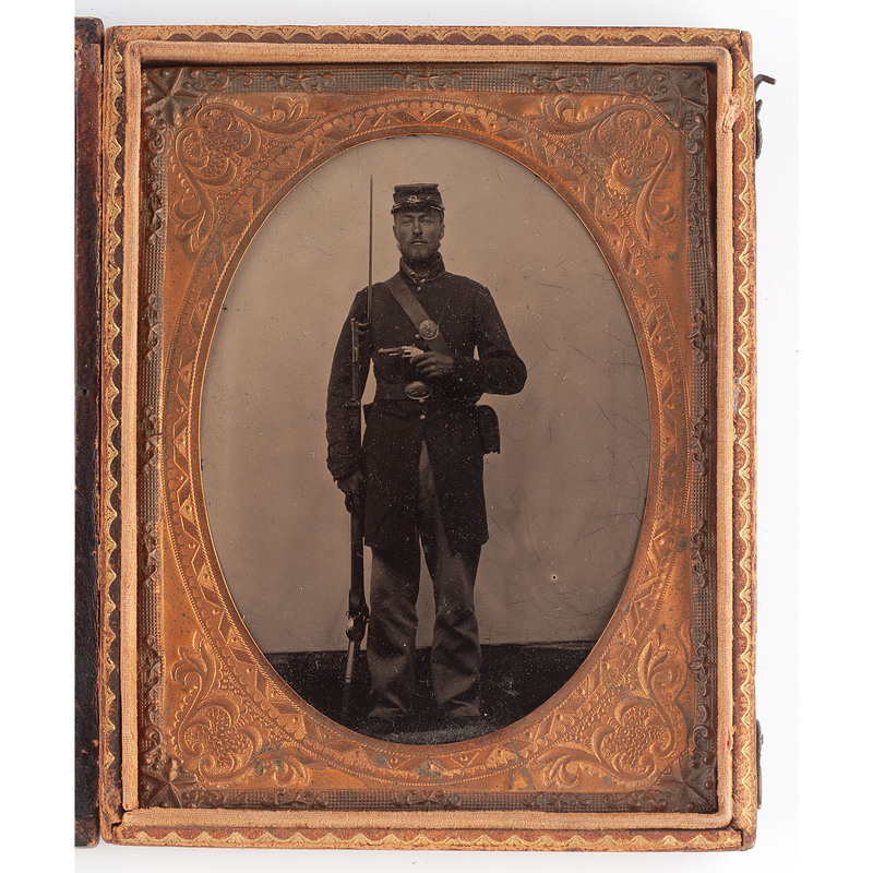 Quarter Plate Tintype of Unidentified Double-Armed Union Soldier