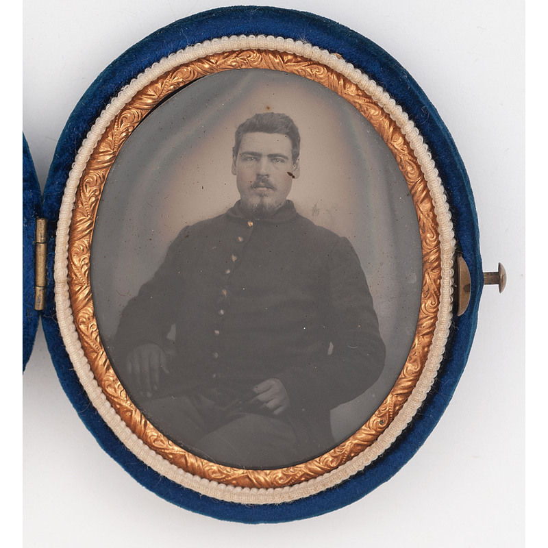 Oval Tintype of Unidentified Soldier, Possibly 7th Ohio Volunteer Infantry