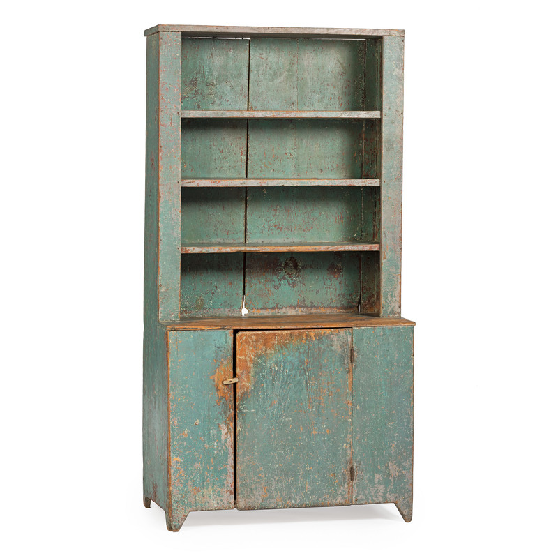 A Federal Green Painted Stepback Cupboard
