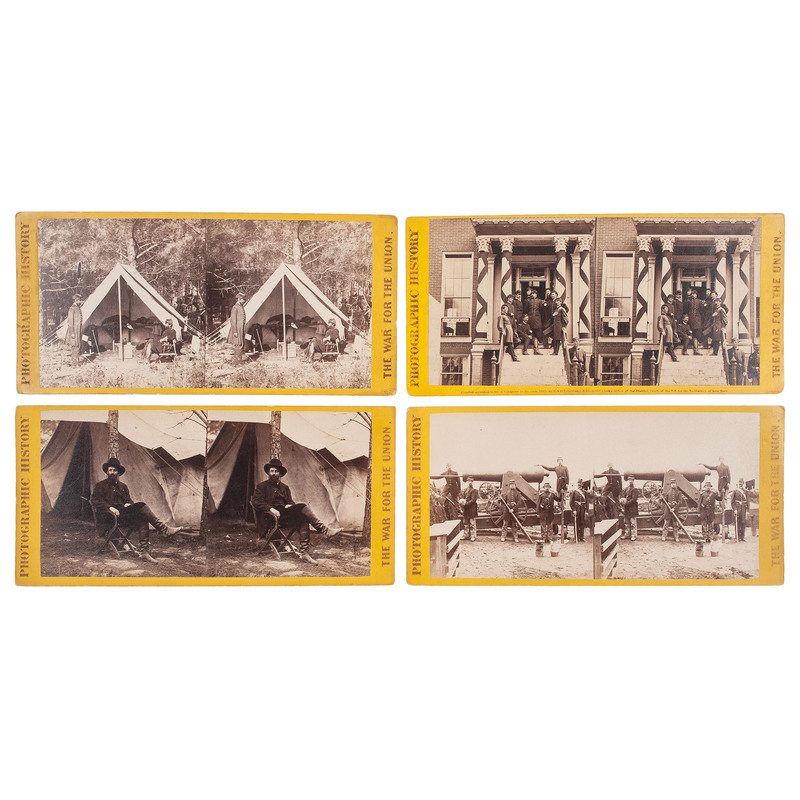 E. & H.T. Anthony, Four Civil War Stereoviews Incl. Gen. Ferrero and Staff, Petersburg, Va.