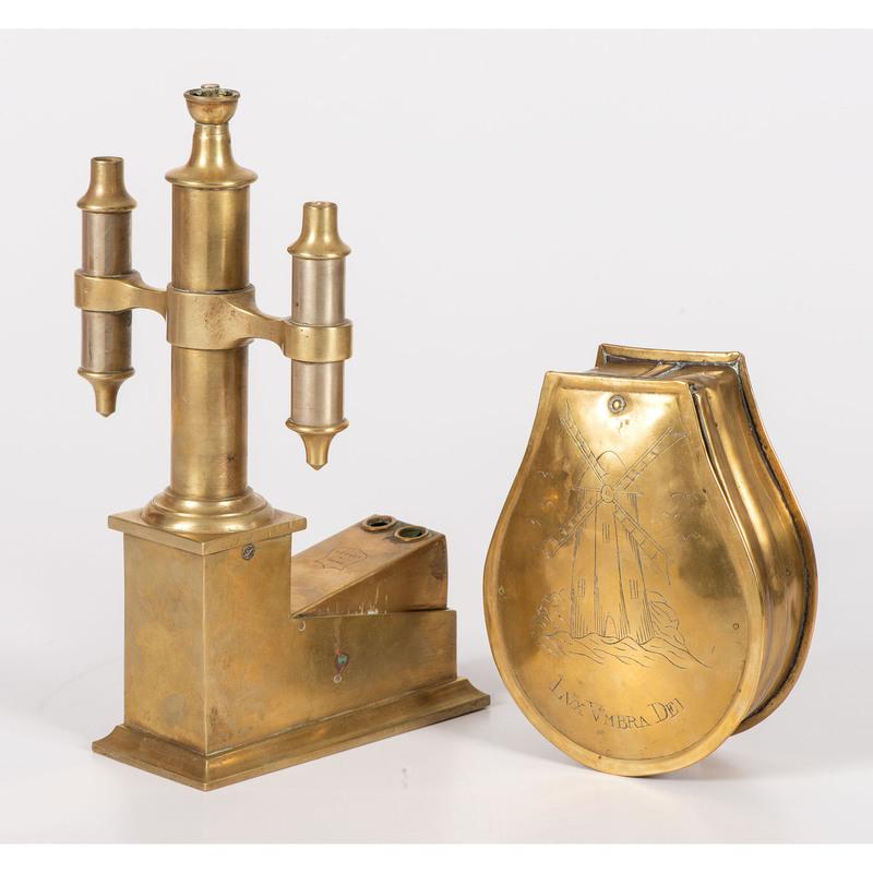 A Dutch Brass Tobacco Box and Two-Hole Cigar Cutter