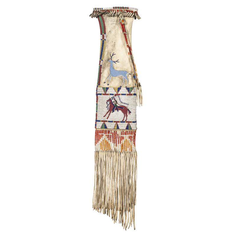 Edith Claymore (Miniconjou, 1858-1910) Attributed, Cheyenne River Pictorial Tobacco Bag