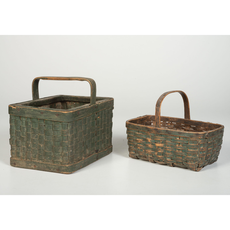 Two Split Baskets in Old Green Paint