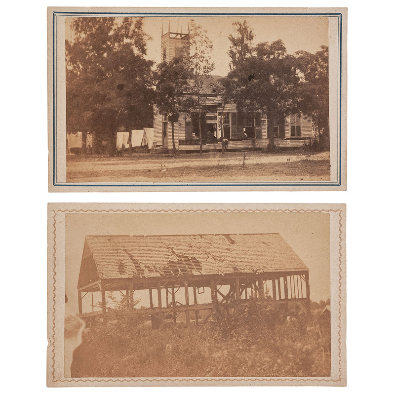 Port Hudson Church and House Damaged by Union Guns, CDVS by McPherson & Oliver