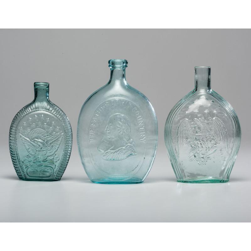 Three American Aqua Glass Flasks