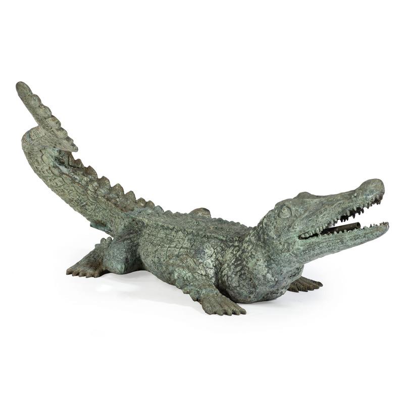 A Cast Metal Crocodile Garden Fountain