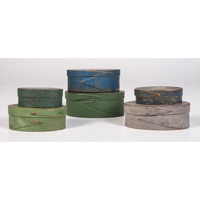 Six Painted Bentwood Pantry Boxes