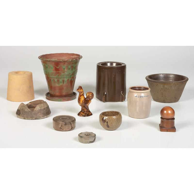 An Assortment of Stoneware and Ceramic Vessels and Kiln Furniture