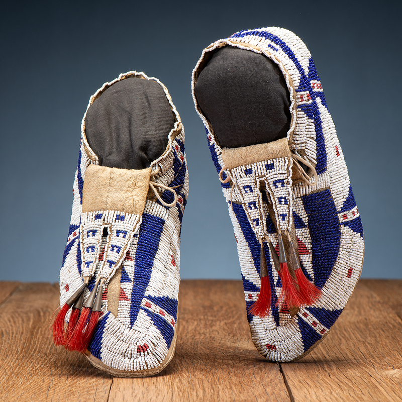 Sioux Beaded Hide Moccasins, with Bifurcated Tongues