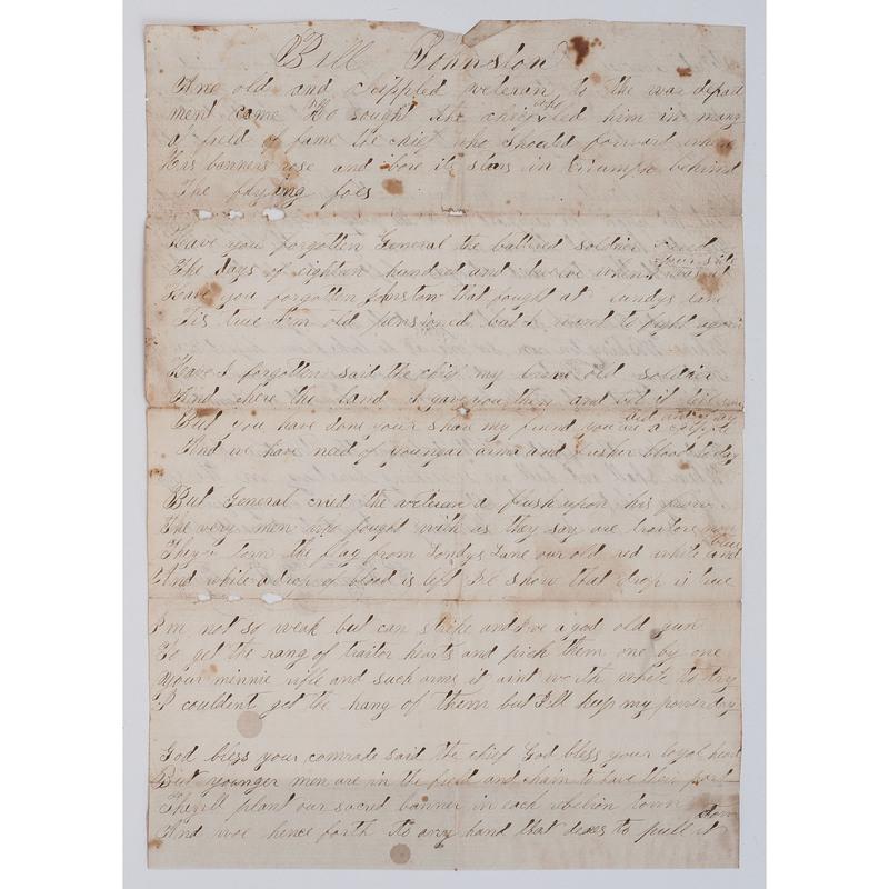 War of 1812 Veteran's Handwritten Patriotic Poem,