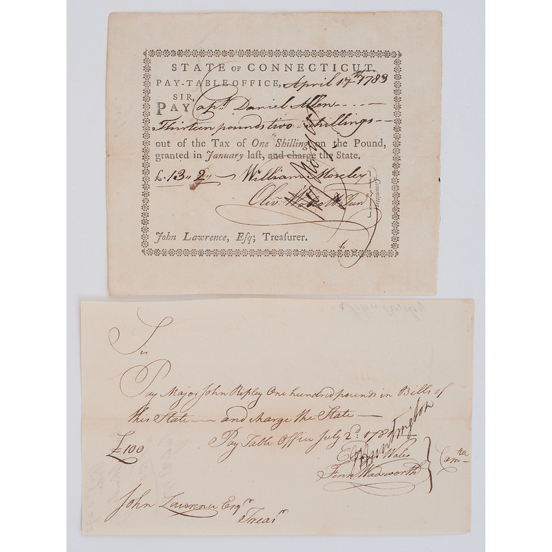 Revolutionary War-Era Pay Statements Signed by Jedediah Huntington and Oliver Wolcott, Jr.