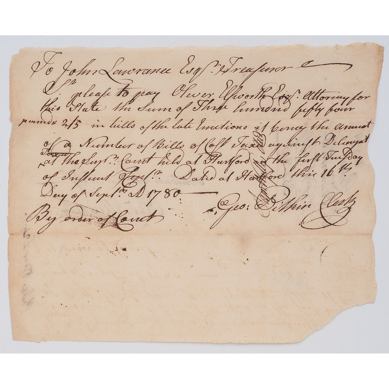 Oliver Ellsworth Receives Payment for Serving as Attorney, Signed Pay Voucher, 1780