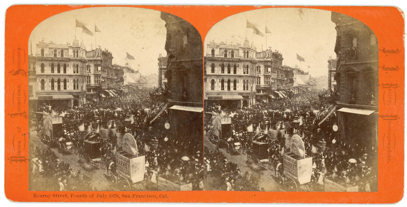 4th JULY 1878 SAN FRANCISCO STEREOVIEW BY J.J. REILLY